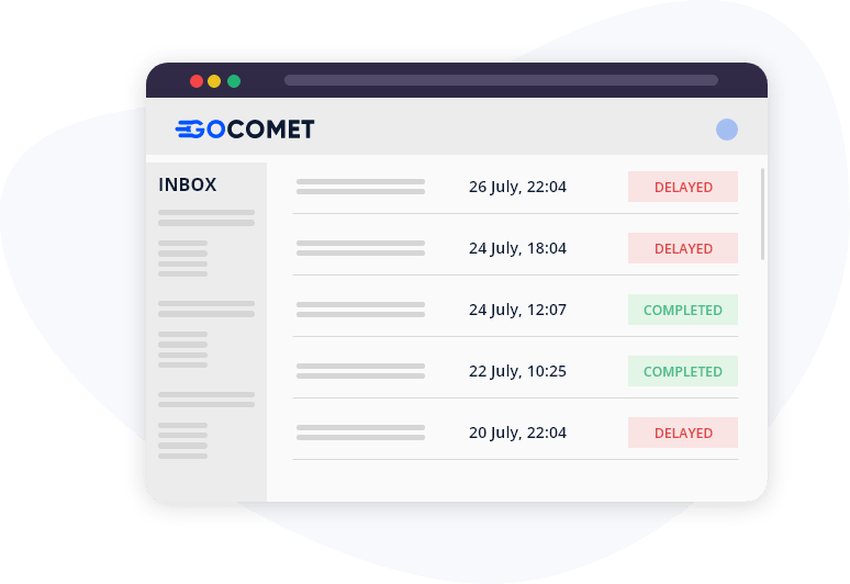 GoComet's track and trace module for automated updates related to live conatiner tracking.