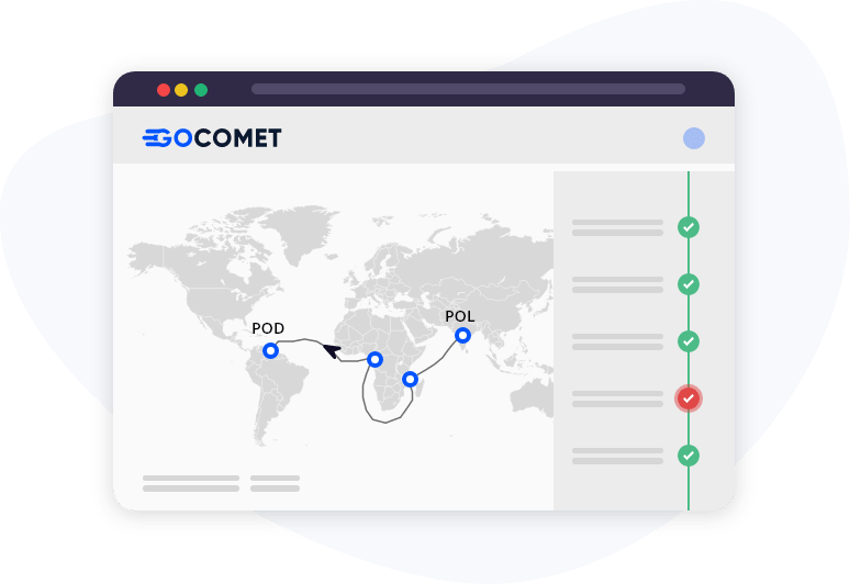 GoComet's container tracking modue for autocapturing status of your shipments in real-time.